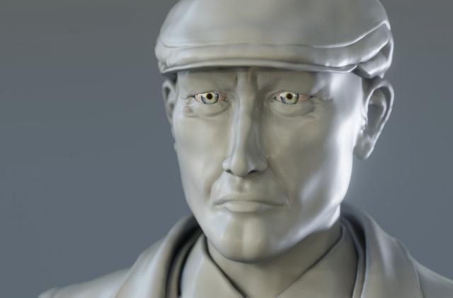 Vanrick - Scultura del personaggio 3D - Dettaglio viso - Blender
