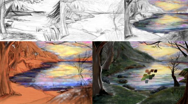Digital painting stages - Krita - By the Lake