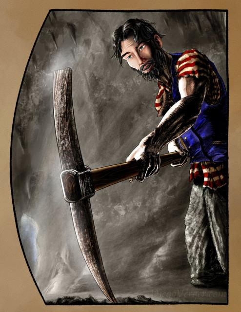 The Count of Monte Cristo - Edmond Dantès using pickaxe in cave
