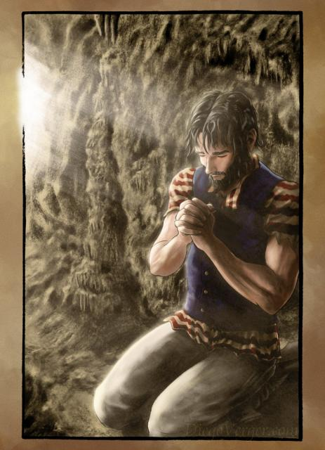 The Count of Monte Cristo - Edmond praying in the cave